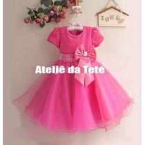 Vestido Rosa Com Laço De Festa Saia De Tule Infantil 1 A 12