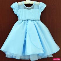 Vestido Infantil Festa Luxo Frozen Com Tiara