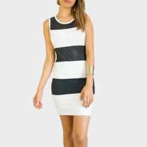 Vestido Feminino Preto Branco Recorte Laser Couro Ecológico