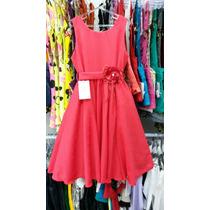 Vestido Festa Rodado Vermelho Infantil Menina Tamanho 10