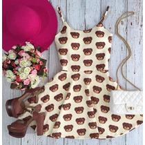 Vestido Urso Ted Curto Rodado