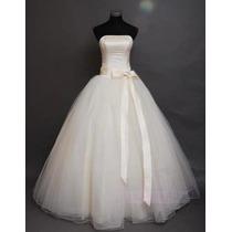 Vestido De Noiva Tomara Q Caia Laço Creme A Pronta Entrega