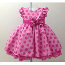 Vestido Infantil Rosa Da Minnie/peppa/gata Marie Tam 1/3