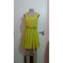 Vestido Chifon Amarelo Com Saia Plissada