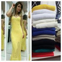Vestido Longo Trico Croche Moda Verão 2016