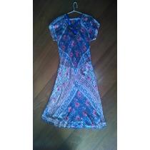 Vestido Longo Azul Com Temas Florais De Rosa