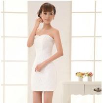 Vestido Curto Branco Renda Noiva Civil Festa Pronta Entrega