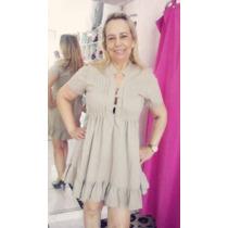 Vestido Misses - De Pegras - Tricoline Bege