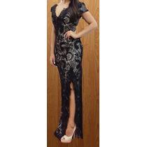 Vestido Renda Elastano Decote V Com Fenda E Detalhe Guipir