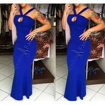 Vestido Feminino Longo Sereia S/renda Rodado Listras Estampa