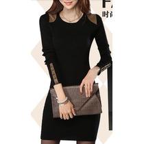 Vestido Feminino Outono Inverno Preto Vinho Macio Algodão