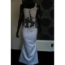 Vestido De Noiva, Modelo Sereia, Cetim Com Transparência.