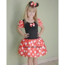 Fantasia Infantil Festa Minnie Vermelha Tam 1 Ao 12 E Brinde