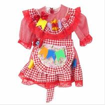 Vestido Infantil Vermelho Caipira Para Festa Junina Arraiá