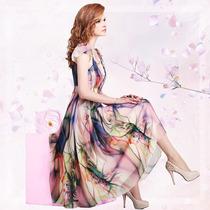 Vestido Seda Chifon Estampa Floral Com Manga Curta