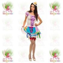 Vestido Junino Caipira Adulto ° Festa Junina ° Flor Rosa-c