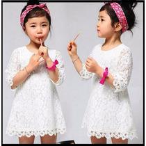 Vestido Infantil Menina Renda Branco Aniversário Festa