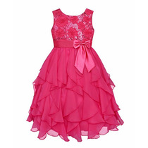 Vestido Infantil Criança Festa Aniversário Pink Azul Paetê