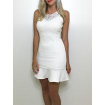 Vestido De Festa Moderno Curto Renda Bojo Na Cor Branca