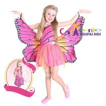 Fantasia Infantil Barbie Butterfly Luxo Sulamericana