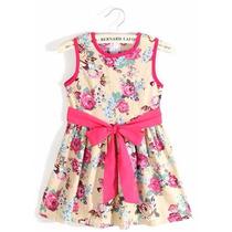 Vestido Infantil Criança Floral Algodão Festa Pronta Entrega