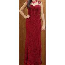 Vestido Renda Madrinha Casamento Detalhe Guipir Vermelho