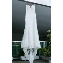 Vestido De Noiva Importado Todo Em Renda, Cor Off White