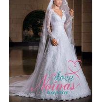 Vestido Noiva Manga Longa Renda Pronta Entrega Gratis Véu