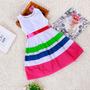 Vestido Infantil Branco Com Listras - Produto Importado