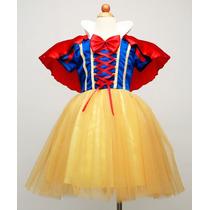 Fantasia Vestido Branca De Neve Infantil Importado 2,4,6,7an