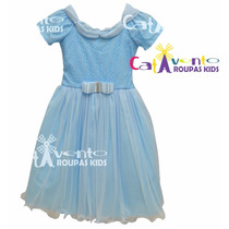 Vestido Festa Infantil Cinderela, Frozen Com Tiara De Cabelo