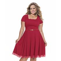Vestido Casual Moda Plus Size Gg Eg Xg Helanca E Renda
