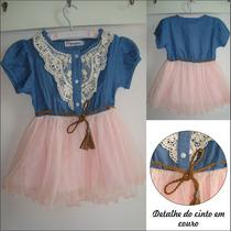 Vestido Infantil - Jeans Com Saia Tutu