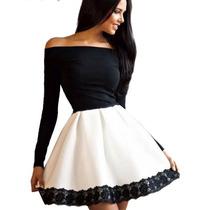 Vestido Importado Mang Longa Preto E Branco Detalhe Em Renda