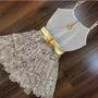 Vestido Curto Sexy Bege Renda Casual Balada Festa Elegante