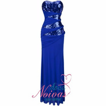 Vestido Festa Madrinha Formatura Azul Royal Bic Pronta Entre