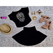 Conjunto Saia Cintura Alta Rodada + Blusa Cropped Top Veludo