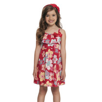 Vestido Infantil Em Malha Com Babados Florido Vermelho Loopy