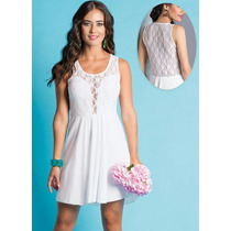 Vestido Festa Branco Rendado Rendas Noiva Ano Novo Lindo!