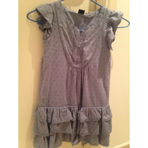 Vestido Menina Gap, Tamanho P 6/7 Anos , Tecido Algodao Azul