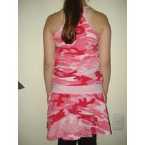 Vestido Feminino Camuflado Rosa 100% Algodão Com Regulagem
