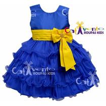 Vestido Festa Infantil Minions Com Faixa De Cabelo De Brinde