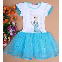 Vestido Princesas Frozen Ana Elsa Infantil - Frete Grátis