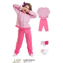 Conjunto Pijama Pink Corações Infantil Manga Longa 4,6,8,10