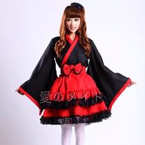 Fantasia Cosplay Quimono Japonês Lolita Empregada Doméstica