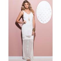 Vestido Longo Branco Noiva Tricot Tricô Lindo Pronta Entrega