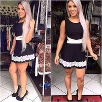Vestido Aberto Lateral Panicat Festa Balada Com Renda Guipir
