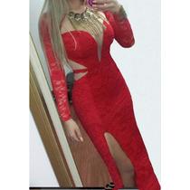 Vestido Longo Sexy Festa Madrinha Panicat Renda Decote Blog