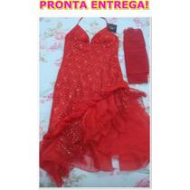 Lindo Vestido Vermelho Importado, Feito Em Renda Bordada