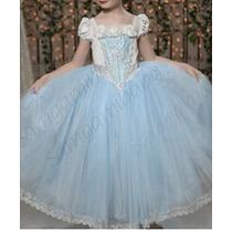 Vestido Fantasia Princesa Cinderela Pronta Entrega